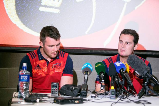Munster's Director of Rugby Rassie Erasmus and captain Peter O'Mahony have spoken for the first time about the tragic death of Anthony Foley. Photo: Kyran O'Brien