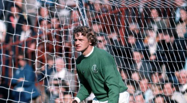 Leeds United's goalkeeper Gary Sprake in action (Photo by Bob Thomas/Getty Images)