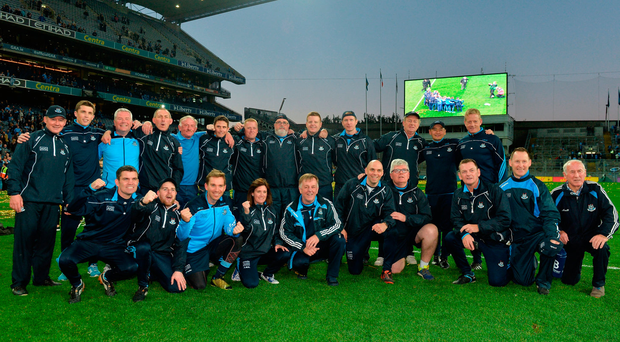Dublin coaches and backroom staff celebrate after the GAA Football All-Ireland Senior Championship Final Replay match between Dublin and Mayo at Croke Park in Dublin. Photo by Eóin Noonan/Sportsfile