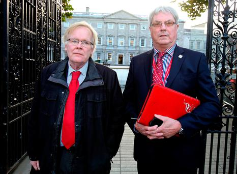 Michael Taft, Research Officer Unite trade union (left) pictured alongside Willie Quigley, Regional Officer, Unite trade union arriving for the Oireachtas Transport Committee at Leinster House yesterday. Photo: Tom Burke