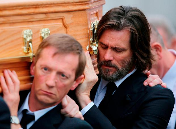 Jim Carrey carrying the coffin of ex-girlfriend Cathriona White. Photo: Niall Carson/PA Wire