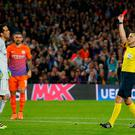 Football Soccer - FC Barcelona v Manchester City - UEFA Champions League Group Stage - Group C - The Nou Camp, Barcelona, Spain - 19/10/16 Manchester City's Claudio Bravo is shown a red card by referee Milorad Mazic Reuters / Albert Gea Livepic EDITORIAL USE ONLY.