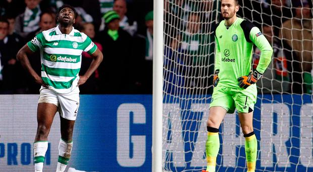 Britain Football Soccer - Celtic v Borussia Monchengladbach - UEFA Champions League Group Stage - Group C - Celtic Park, Glasgow, Scotland - 19/10/16 Celtic's Craig Gordon and Kolo Toure look after Borussia Monchengladbach's Andre Hahn scores their second goal Action Images via Reuters / Lee Smith Livepic EDITORIAL USE ONLY.