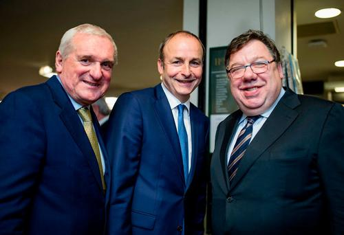 Fianna Fail leader Michael Martin with former Taoiseach Bertie Ahern and Brian Cowen at the launch of Forgotten Patriot – Douglas Hyde and the Foundation of the Irish Presidency by Brian Murphy Picture at Hodges and Figgis book shop. Photo: Arthur Carron