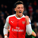 Arsenal's Mesut Ozil celebrates scoring their sixth goal and his hat trick Photo: Reuters / Toby Melville