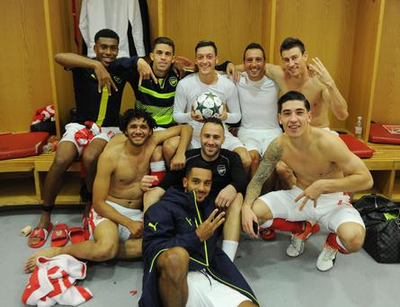 Mesut Ozil posted the image on his social media page, sparking familiar criticism of for Arsenal players who have come under fire after posing for similar images in recent years. Photo: Twitter.com / @MesutOzil1088