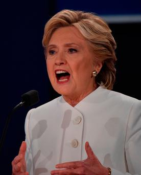 Hillary Clinton speaks during the third and final US presidential debate with Republican nominee Donald Trump. Photo: AFP/Getty Images