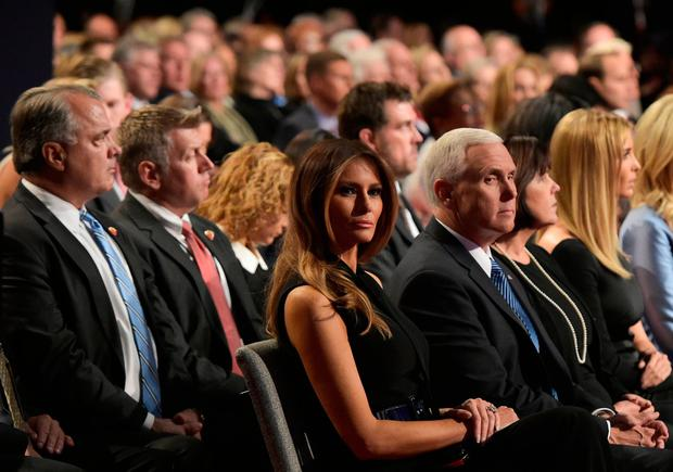 Melania Trump (C) and Republican vice presidential candidate Mike Pence attend the third and final presidential debate between Republican presidential nominee Donald Trump and Democratic contender Hillary Clinton at the University of Nevada in Las Vegas. Photo: AFP/Getty Images