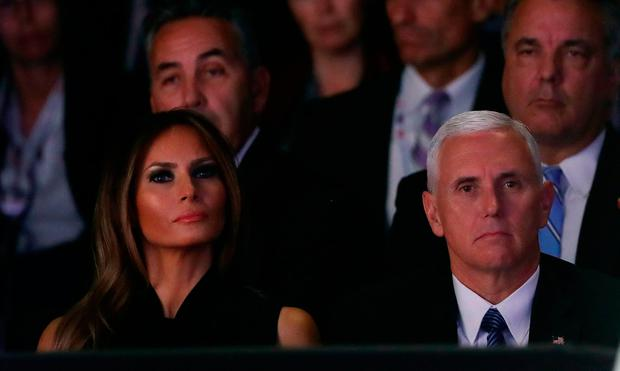 Melania Trump (L) and Republican vice presidential nominee Mike Pence listen to the candidates speak during the third U.S. presidential debate at the Thomas & Mack Center on October 19, 2016 in Las Vegas, Nevada. Photo: Joe Raedle/Getty Images