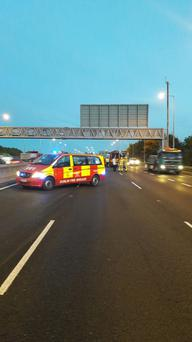 Emergency services on scene at collision S'bound between J7 & J9 blocking 3 lanes Credit: M50 Dublin