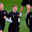Dundalk's Sean Gannon, centre, with team-mates John McEleney, right, and Daryl Horgan during squad training at Tallaght Stadium