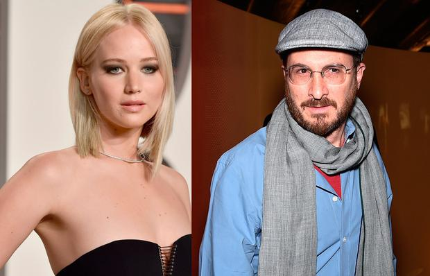 Jennifer Lawrence, left, and Darren Aronofsky, right