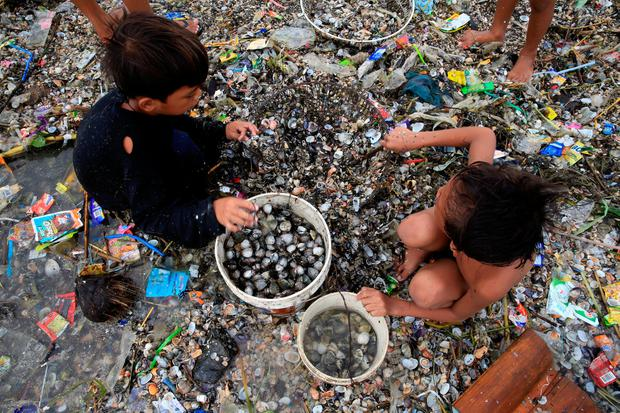 Children take advantage of the gloomy weather to collect washed up clams brought by crashing waves due to strong winds of Super Typhoon Haima, local name Lawin, along the coastal areas in metro Manila, Philippines October 20, 2016. REUTERS/Romeo Ranoco