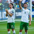 Robbie Brady left, and Shane Long
