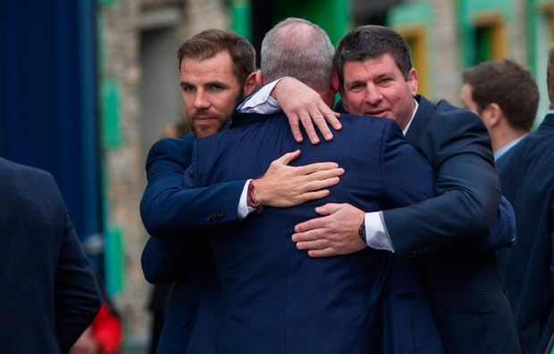 Mick Galwey gets a hug from Barry Murphy and Ken O'Connell Picture: Mark Condren