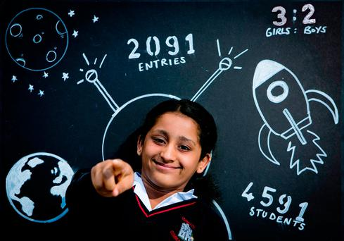 Haritha Olaganathan, from Adamstown Community College, west Dublin, at the announcement of the record entry for next year's Young Scientist & Technology Exhibition. Photo: Chris Bellew