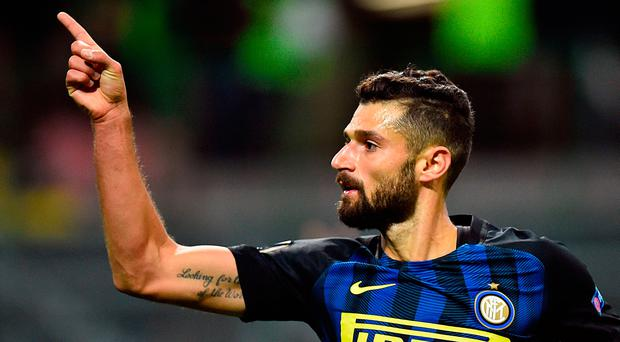 Inter Milan's Antonio Candreva celebrates after scoring a goal. Photo: Getty