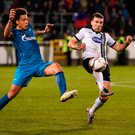 Dundalk's Patrick McEleney in action against Zenit's Axel Witsel. Photo by David Maher/Sportsfile