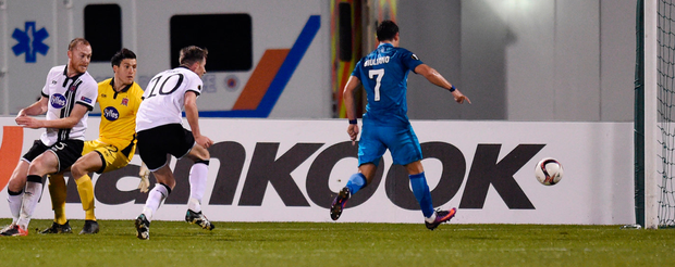 Dundalk players look on as Zenit St Petersburg's Giuliano scores his team's winning goal. Photo: Reuters