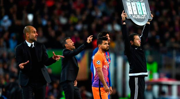 Sergio Aguero is introduced as a second-half substitute against Barcelona. Photo: Getty