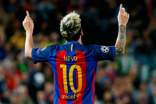 Lionel Messi celebrates after yet another goal. Photo: Getty