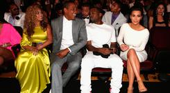 In friendlier times... (L-R) Singer Beyonce, rappers Jay-Z and Kanye West and television personality Kim Kardashian attend the 2012 BET Awards at The Shrine Auditorium on July 1, 2012 in Los Angeles, California. (Photo by Christopher Polk/Getty Images For BET)
