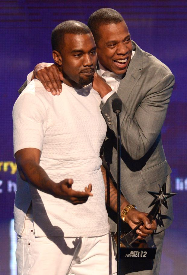 Recording artists Kanye West (L) and Jay-Z accept the award for Video of the Year onstage during the 2012 BET Awards at The Shrine Auditorium on July 1, 2012 in Los Angeles, California. (Photo by Michael Buckner/Getty Images For BET)