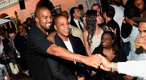 Recording artists Kanye West and Jay-Z attend Roc Nation and Three Six Zero Pre-GRAMMY Brunch 2015 at Private Residence on February 7, 2015 in Beverly Hills, California. (Photo by Larry Busacca/Getty Images For Roc Nation)