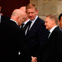 Ireland head coach Joe Schmidt and former Munster and Ireland player Keith Wood arrive for the funeral of Munster Rugby head coach Anthony Foley
