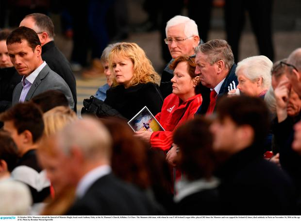 Mourners attend the funeral of Munster Rugby head coach Anthony Foley at the St. Flannans Church, Killaloe, Co Clare. Photo by Brendan Moran/Sportsfile