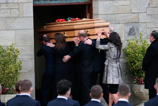 Coffin carrying the remains of Anthony 'Axel' Foley is brought into St Flannan's Church in Killaloe, Co Clare