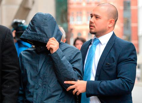 Fake Sheikh Mazher Mahmood (left) arrives at the Old Bailey, London Credit: Dominic Lipinski/PA Wire