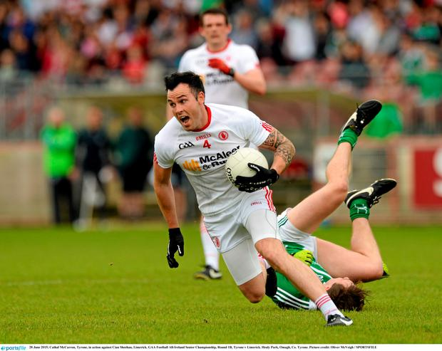 28 June 2015; Cathal McCarron, Tyrone, in action Limerick. GAA Football All-Ireland Senior Championship, Round 1B, Tyrone v Limerick. Healy Park, Omagh, Co. Tyrone. Picture credit: Oliver McVeigh / SPORTSFILE