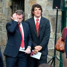 Former Ireland and Munster rugby players Marcus Horan and Donnagha O Callaghan pictured before the funeral mass for Anthony Foley at At Flannan's church in Killaloe. Picture Credit : Frank Mc Grath 21/10/16