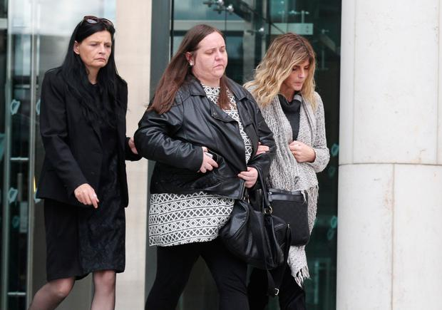 Victims family and friends pictured leaving court after Gareth Jones, 22, from Mellows Park in Finglas, pleaded guilty to careless driving causing the death of Paul McCormack at Tolka Valley Road in Finglas. Pic: Collins Courts