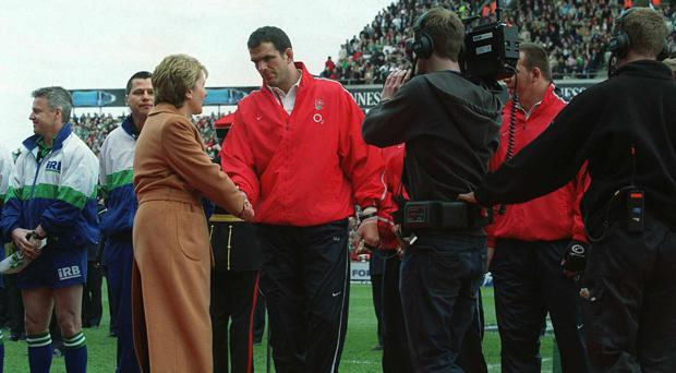Martin Johnson meets Mary McAleese at Lansdowne Road in 2003