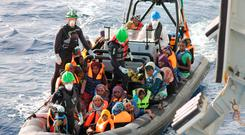 LÉ Samuel Beckett Rescues 772* Migrants During a Complex Search & Rescue Operation. Picture: Irish Defence Sources