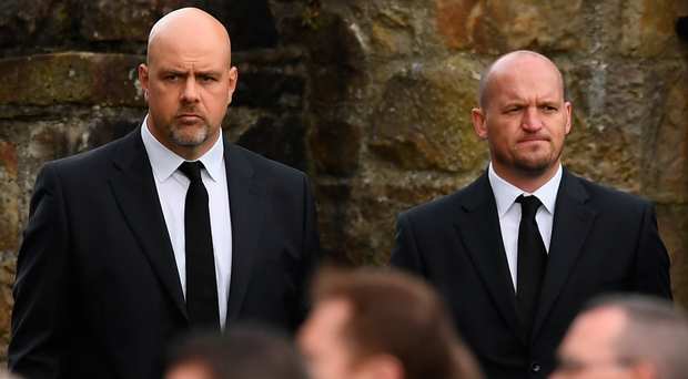 Glasgow Warriors head coach Gregor Townsend (right) and his assistant Dan McFarland at Anthony Foley's funeral. Photo: Sportsfile