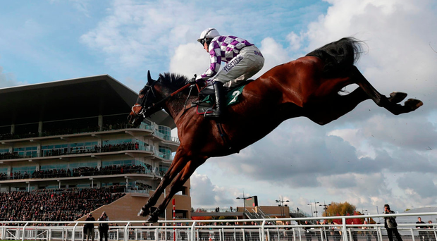 Marracudja, with Nick Scholfield up, on the way to winning the Novices Chase at Cheltenham. Photo: David Davies/PA Wire