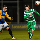Shamrock Rovers' Sean Heaney in action against Bray Wanderers' Ger Pender. Photo: Sportsfile