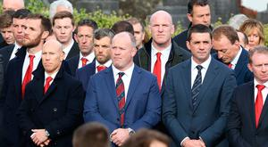 Munster and Ireland players Peter Stringer, Frankie Sheehan, Paul O'Connell , Alan Quinlan and Mick O'Driscoll pictured before the funeral mass for Anthony Foley at St Flannan's church in Killaloe Picture: Frank McGrath