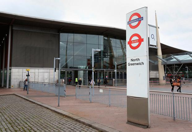 North Greenwich tube station on the north Greenwich Peninsula in south east London.