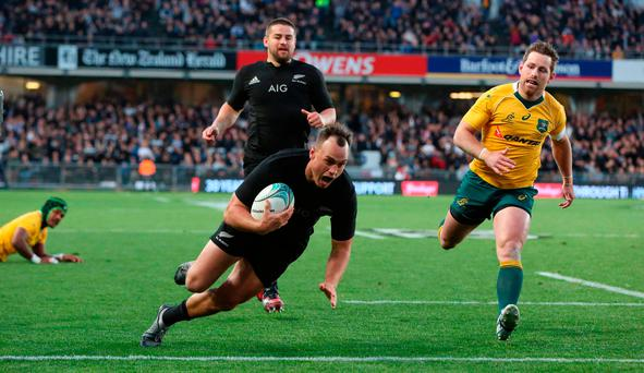 New Zealand's Israel Dagg scores a try during the third rugby Bledisloe Cup Test between the New Zealand All Blacks and Australia at Eden Park in Auckland