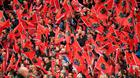 22 October 2016; Munster supporters wave their flags ahead of the European Rugby Champions Cup Pool 1 Round 2 match between Munster and Glasgow Warriors at Thomond Park in Limerick. Photo by Brendan Moran/Sportsfile