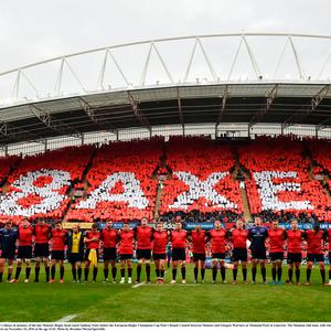 22 October 2016; The Munster team during a minute's silence in memory of the late Munster Rugby head coach Anthony Foley before the European Rugby Champions Cup Pool 1 Round 2 match between Munster and Glasgow Warriors at Thomond Park in Limerick. The Shannon club man, with whom he won 5 All Ireland League titles, played 202 times for Munster and was capped for Ireland 62 times, died suddenly in Paris on November 16, 2016 at the age of 42. Photo by Brendan Moran/Sportsfile