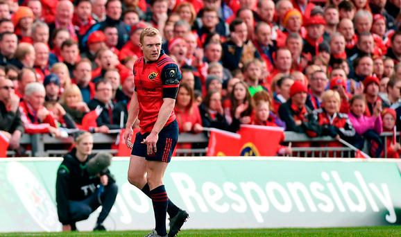 Keith Earls of Munster leaves the pitch after being shown a red card by referee Jérôme Garcès during the European Rugby Champions Cup Pool 1 Round 2 match between Munster and Glasgow Warriors at Thomond Park in Limerick. Photo by Diarmuid Greene/Sportsfile