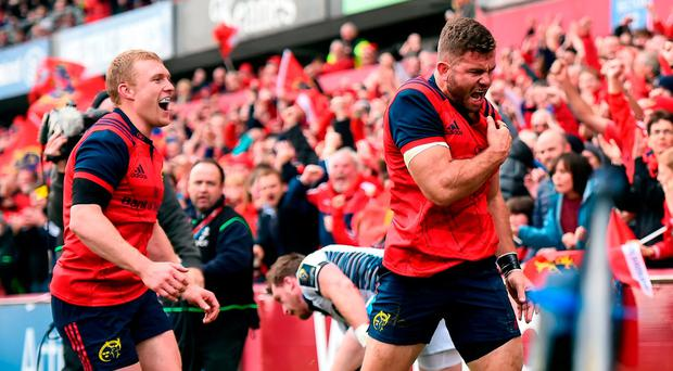 Jaco Taute of Munster celebrates scoring his side's second try during the European Rugby Champions Cup Pool 1 Round 2 match between Munster and Glasgow Warriors at Thomond Park in Limerick. Photo by Diarmuid Greene/Sportsfile