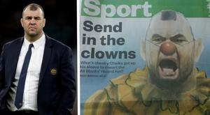 Michael Cheika took issue with the front page of the New Zealand Herald's sport section CREDIT: GETTY IMAGES