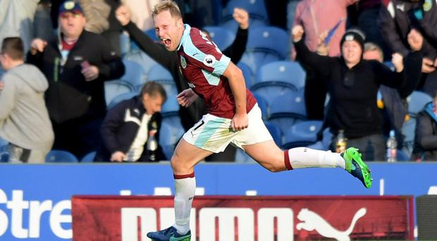 Burnley's Scott Arfield celebrates scoring their second goal Reuters / Anthony Devlin