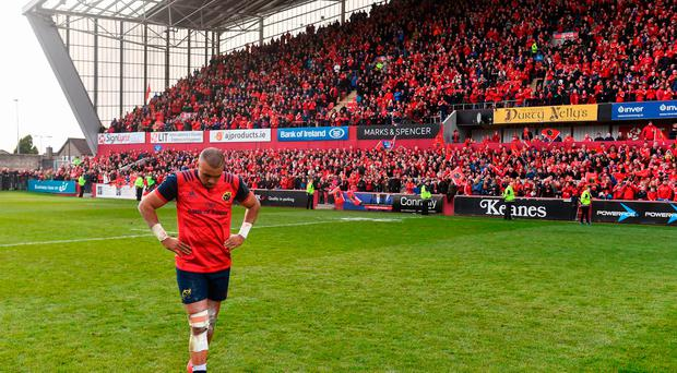 Simon Zebo of Munster after the European Rugby Champions Cup Pool 1 Round 2 match between Munster and Glasgow Warriors at Thomond Park in Limerick. Photo by Diarmuid Greene/Sportsfile
